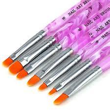 7pcs uv gel acrylic nail brush set nail art painting purple pen