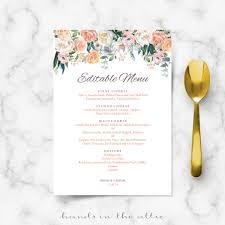 Editable Wedding Invitation Cards Wedding Buffet Menu Cards Floral Diy Template Wedding Dinner