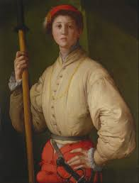 portrait of a halberdier 1528 1530 oil on canvas 92 x 72 cm j