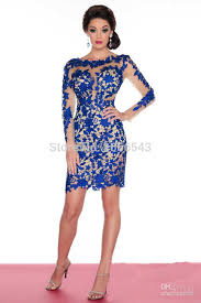 wholesale 2015 sell royal blue red white beaded lace cocktail