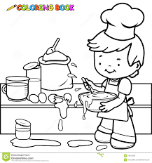 boy cooking and making a mess coloring page stock vector image