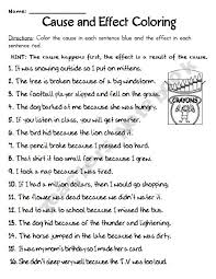 cause and effect worksheet 5th grade worksheets