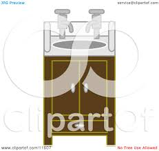 bathroom sink and cabinet with two faucets clipart illustration by