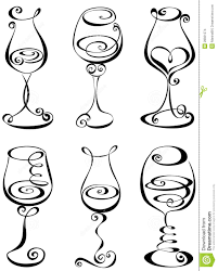 cartoon white wine set stylized wine glass stock images image 28821574 wine