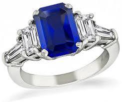 sapphire emerald cut engagement rings buy estate 3 02ct sapphire 1 00ct engagement ring new