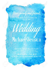 wedding backdrop vector free wedding invitation card with blue watercolor blot on backdrop