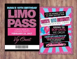 vip pass limo pass birthday party 21st birthday backstage pass