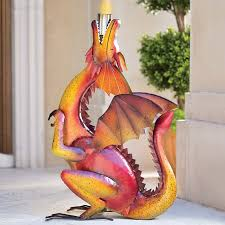 dragon fire pit handcrafted metal dragon torch the green head