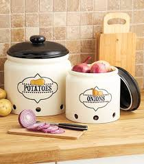 ceramic onion storage crock set 2 pieces earthenware brown lids