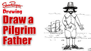 thanksgiving drawings how to draw a pilgrim father for thanksgiving youtube