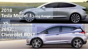 2018 tesla model 3 long range vs 2017 chevrolet bolt technical