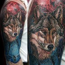 cool wolf in forest mens half sleeve wolves etc