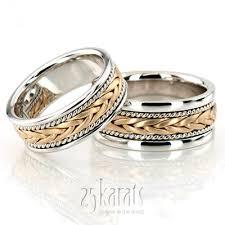braided wedding band hh hc100117 14k gold stylish sandblasted braided wedding band set
