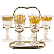 vintage cocktail set gold band cordial glass caddy cordial gold bands and cocktail