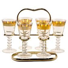 vintage cocktail set gold band cordial glass caddy cordial gold bands and cocktail