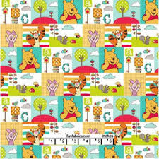 pooh character patch tree fabric