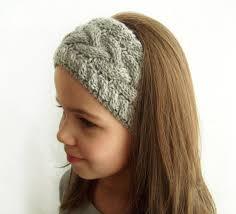 headband ear warmer knit headband ear warmer grey cable knit headband w no button