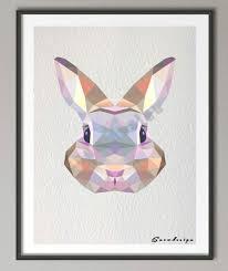 aliexpress com buy low poly geometric coral rabbit bunny canvas
