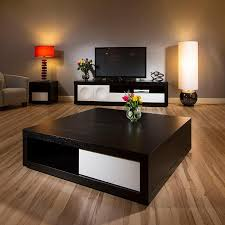 Square Living Room Tables Large Black Coffee Table