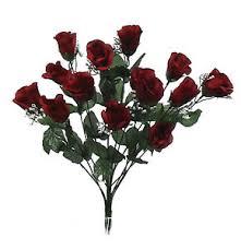 Silk Wedding Flowers 14 Burgundy Long Stem Roses Buds Bush Silk Wedding Flowers