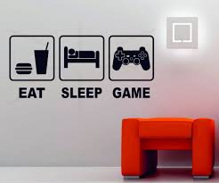 eat sleep game playstation xbox wii decor art vinyl wall sticker