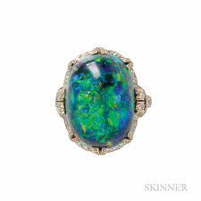 fine art deco platinum black opal and diamond ring sale number