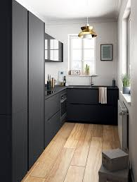 Grey Wood Floors Kitchen by