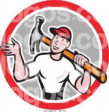 royalty free vector logo of a cartoon white handyman waving and
