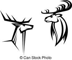 deer mascots in tribal style for or another vectors