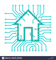 connected home symbol conceptual illustration of pcb circuits with