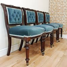 of 4 antique mid victorian mahogany upholstered buttoned back