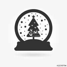 a christmas snow vector illustration of a christmas snow globes silhouette with