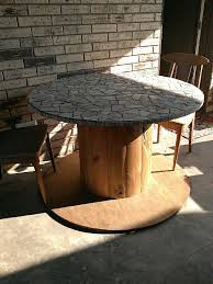 outdoor tables made out of wooden wire spools mosaic table made from a large wire spool pins i have actually