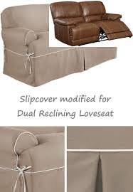 can you put a slipcover on a reclining sofa dual reclining loveseat slipcover t cushion twill contrast taupe