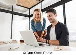 in bureau smiling working team in bureau cheerful colleagues stock