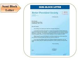 Semi Block Letter Format Business Letter Types Of Letters In Communication