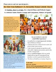 mass to celebrate sts charles lwanga and companions u2013 sunday