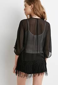 forever 21 embroidered fringe trim kimono in black lyst
