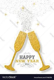 champagne toast cartoon happy new year 2018 party toast gold glitter card vector image
