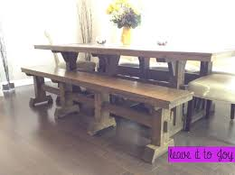 Ana White Farmhouse Bench Ana White Leave It To Joy Triple Pedestal Wide Farmhouse Table