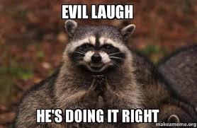 Meme Evil Laugh - evil laugh he s doing it right evil plotting raccoon make a meme