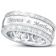 rings with names engraved personalized name engraved solid sterling silver diamond ring our