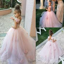 cute pink tulle flower dress new arrival long children