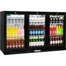 alfresco glass 3 door bar fridge
