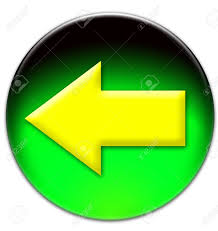Green White And Yellow Flag Yellow Arrow Looking Left On A Green Glassy Button Isolated On