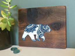 mandala bear rustic reclaimed wood wall art home decor gift