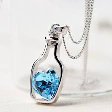 ladies necklace images 3colors heart crystal pendant necklace fashion creative women jpg