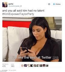 Kim Meme - kim kardashian s exposing of taylor swift causes twitter explosion