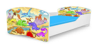 Toddler Boys Bedroom Furniture Dinosaur Twin Platform Car Bed Frame For Children Boys Girls