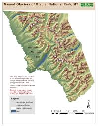 National Parks Us Map Map Of The Named Glaciers In Glacier National Park